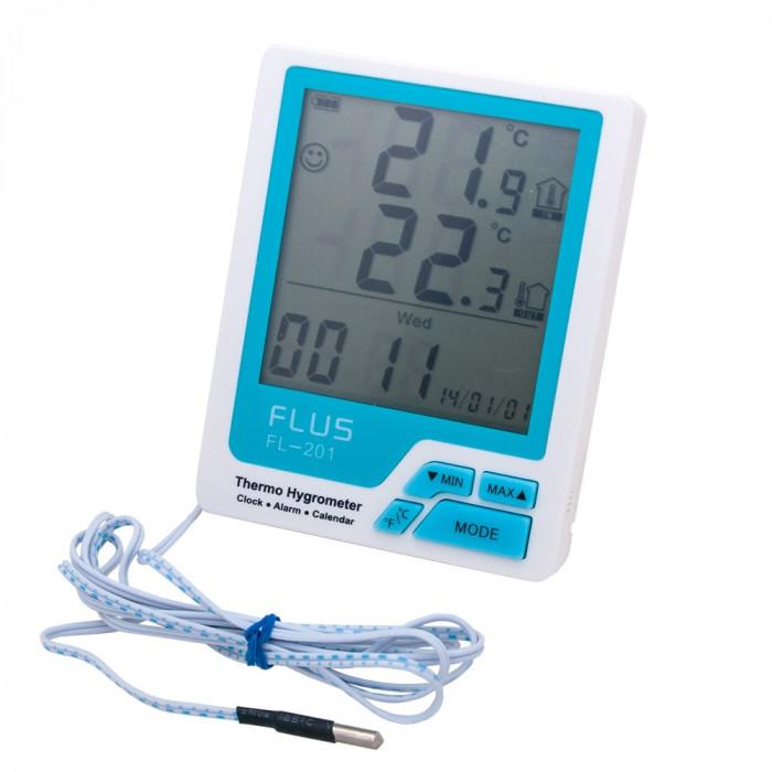 Термогигрометр с выносным датчиком Flus FL-201W