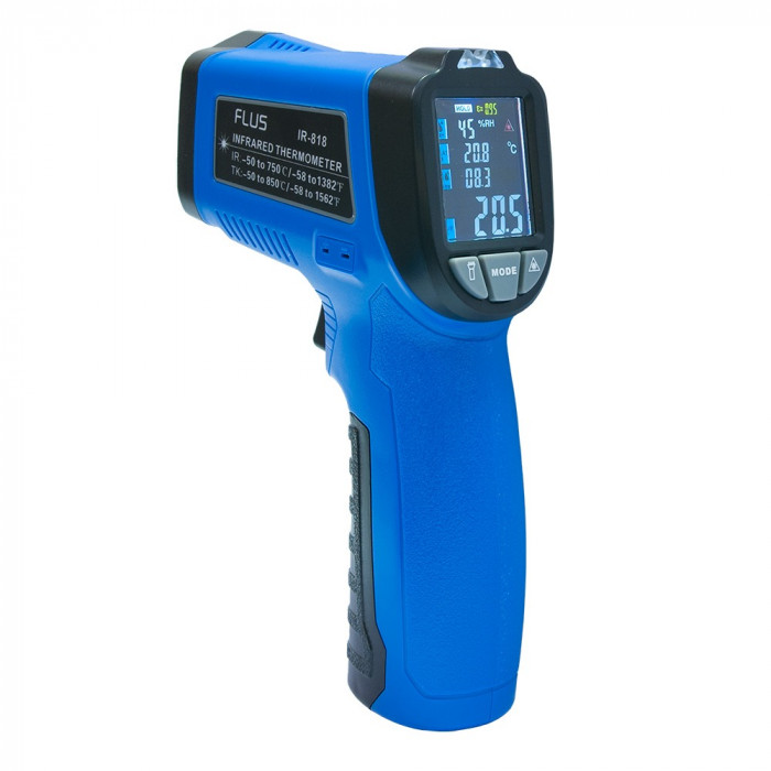 Пирометр - термогигрометр с термопарой Flus IR-818