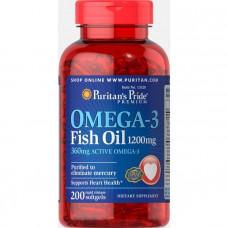 Рыбий жир Омега-3, Omega-3 Fish Oil, Puritan's Pride, 1200 мг, 360 мг активного, 200 капсул