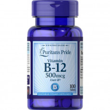 Витамин В-12, Vitamin B-12, Puritan's Pride, 500 мкг, 100 таблеток