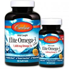 Омега-3, Elite Omega-3, Carlson Labs, вкус лимона, 1600 мг, 90+30 капсул