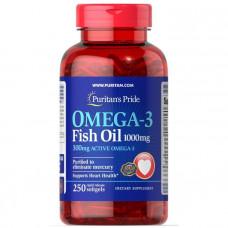 Омега-3 рыбий жир, Omega-3 Fish Oil, Puritan's Pride, 1000 мг, 300 мг активного, 250 капсул