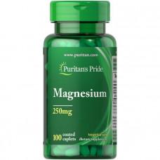 Магний, Magnesium, Puritan's Pride, 250 мг, 100 капсул