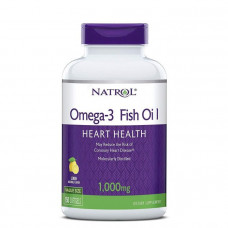 Рыбий жир в капсулах, Omega-3 Fish Oil, Natrol, лимонный вкус, 1000 мг, 150 капсул