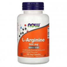 Аргинин, L-Arginine, Now Foods, 500 мг, 100 капсул