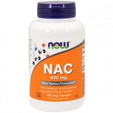 Ацетилцистеин, NAC (N-Acetyl Cysteine), Now Foods, 600 мг, 100 капсул