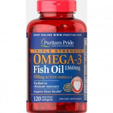 Омега-3 рыбий жир, Omega-3 Fish Oil, Puritan's Pride, 1360 мг (950 мг активного омега-3), 120 капсул