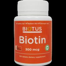 Биотин, Biotin, Biotus, 300 мкг, 100 таблеток