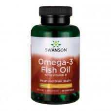 Омега-3 рыбий жир с витамином Д, Omega-3 Fish Oil with Vitamin D, Swanson, 1000 мг, вкус лимона, 60 гелевых капсул
