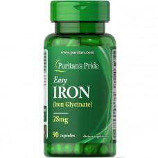 Железо, Easy Iron (Glycinate), Puritan's Pride, 28 мг, 90 гелевых капсул