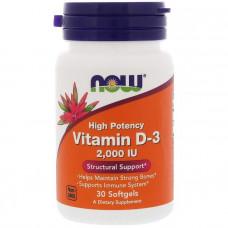 Витамин Д-3, Vitamin D-3, Now Foods, 2,000 МЕ, 30 гелевых капсул