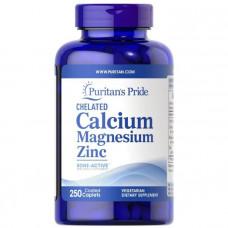 Кальций Магний Цинк хелат, Chelated Calcium Magnesium Zinс, Puritan's Pride, 250 капсул