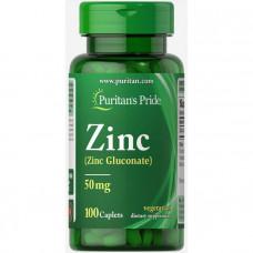 Цинк глюконат, Zinc, Puritan's Pride, 50 мг, 100 капсул