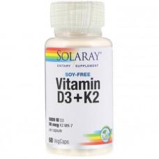 Витамин Д3 и К2, Vitamin D-3 & K-2, Solaray, без сои, 60 капсул