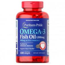 Омега-3 рыбий жир, Omega-3 Fish Oil, Puritan's Pride, 1200 мг, 360 мг активного, 100 капсул